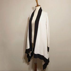 Tahari Black & Ivory Colorblock Cardigan Duster